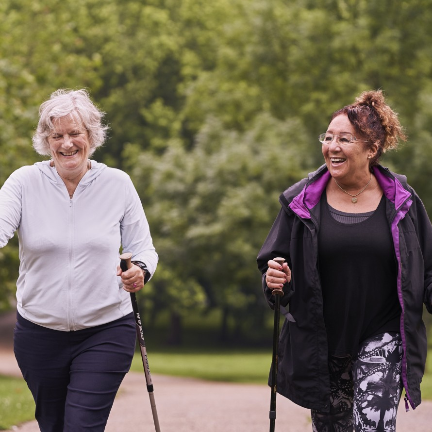 2 women nordic walking