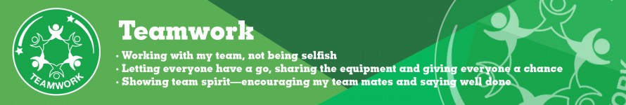 Teamwork - Working with my team, not being selfish, Letting everyone have a go, showing team spirit